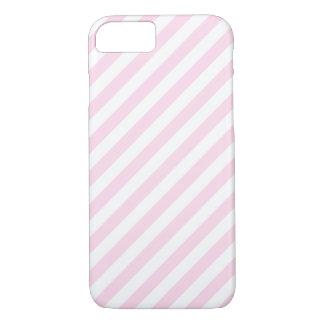 白く、淡いピンクの縞 iPhone 8/7ケース