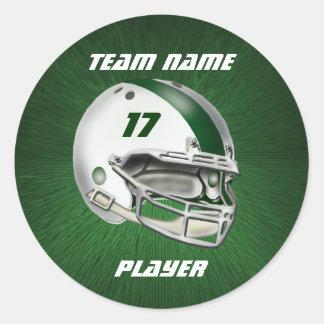 白く、深緑色のフットボール用ヘルメット 丸形シール・ステッカー