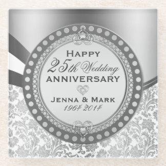 白く、銀製の第25結婚記念日 ガラスコースター