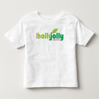 白でヒイラギのすてきなクリスマスの幼児のティーを持って下さい トドラーTシャツ