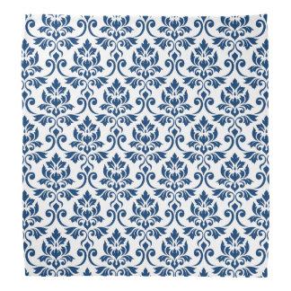 白で濃紺Feuilleのダマスク織パターン バンダナ