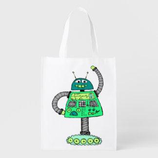 白で緑Frankieのロボット エコバッグ