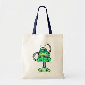 白で緑Frankieのロボット トートバッグ