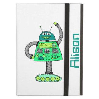 白で緑Frankieのロボット iPad Airケース