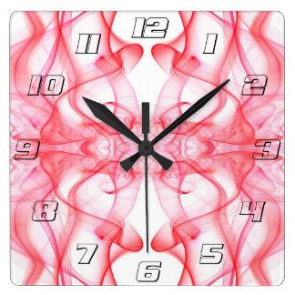 白で赤い着色煙の抽象芸術のシルエット スクエア壁時計