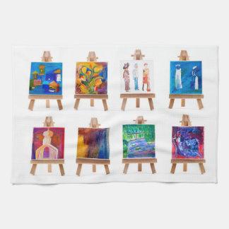 白で隔離されるイーゼルの6枚の小型絵画 台所タオル