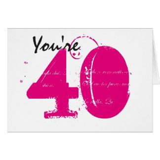 白のあなたは40、大きく黒い及びピンクの文字 カード