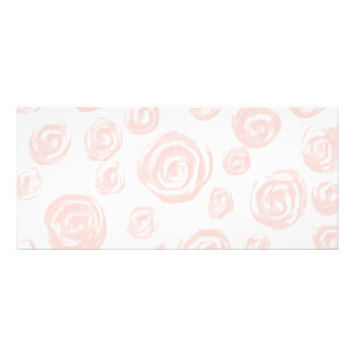 白のかわいらしく柔らかいピンクのバラパターン ラックカード