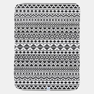 白のアステカな本質パターン黒 ベビー ブランケット