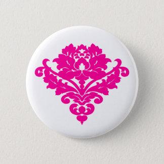 白のエレガントな赤紫のダマスク織 5.7CM 丸型バッジ