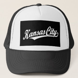 白のカンザスシティの原稿のロゴ キャップ
