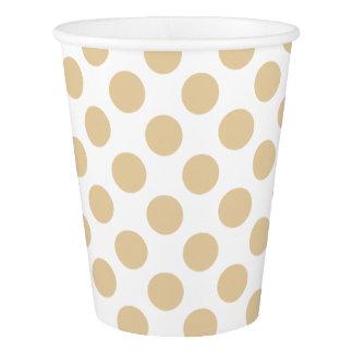 白のクリーム色の茶水玉模様 紙コップ