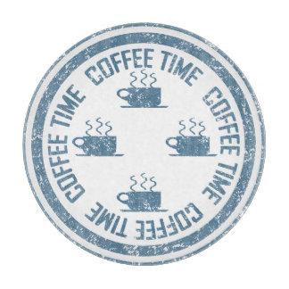 白のコーヒー時間青 カッティングボード