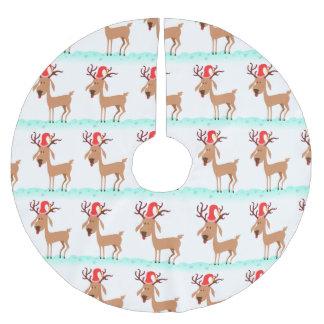 白のサンタの帽子を持つかわいいクリスマスのトナカイ ブラッシュドポリエステルツリースカート