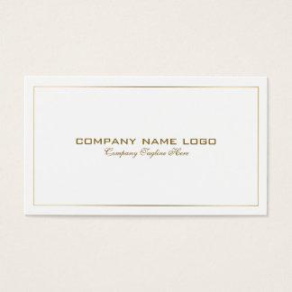 白のシンプルでモダンな錫の金ゴールドのボーダー 名刺
