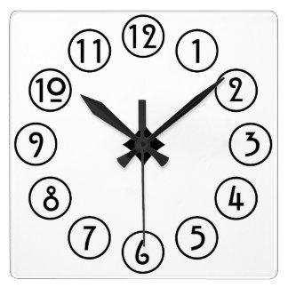 白のシンプルな黒きれいにすれば スクエア壁時計