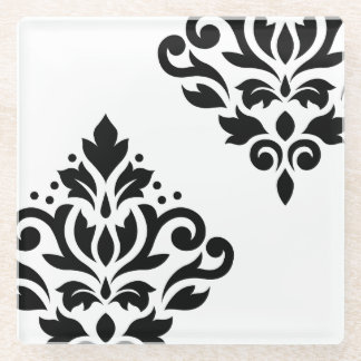 白のスクロールダマスク織の芸術Iの黒 ガラスコースター