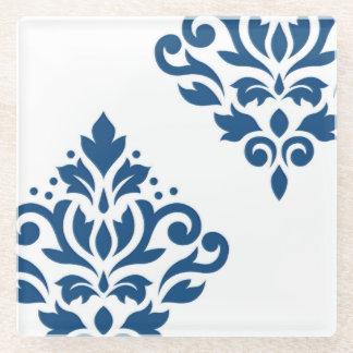 白のスクロールダマスク織の芸術I Dkの青 ガラスコースター