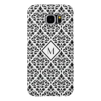 白のスクロールダマスク織のPtnの黒(名前入りな) Samsung Galaxy S6 ケース