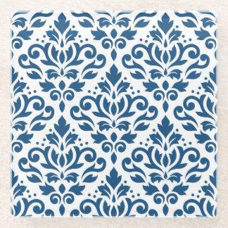 白のスクロールダマスク織のPtn Dkの青 ガラスコースター