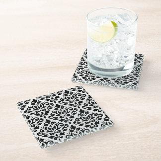 白のスクロールダマスク織パターン黒 ガラスコースター