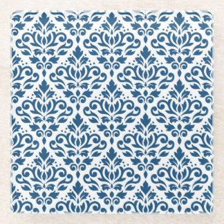 白のスクロールダマスク織Rpt Ptn Dkの青 ガラスコースター