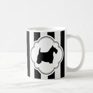 白のストライプで黒いスコッチテリア コーヒーマグカップ