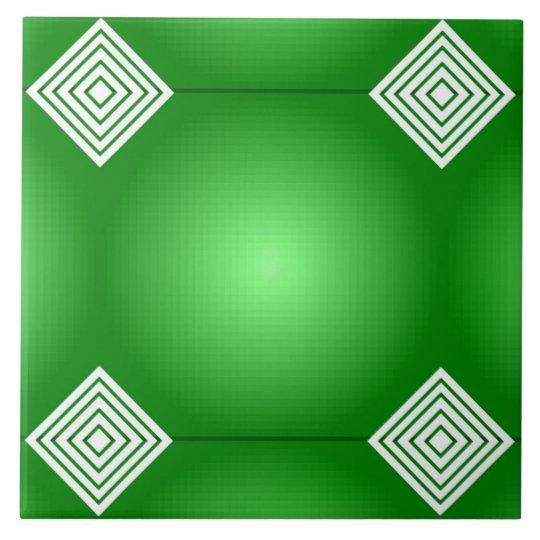 白のストライプとの緑の勾配 正方形タイル大
