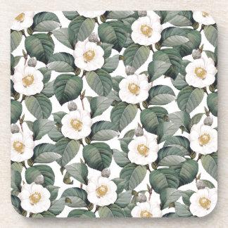 白のツバキの花模様 コースター