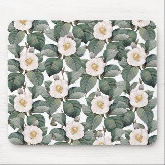 白のツバキの花模様 マウスパッド