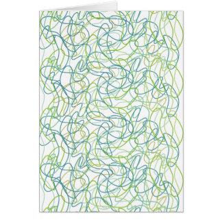 白のティール(緑がかった色)、金ゴールドおよび緑のオーガニックな形 カード