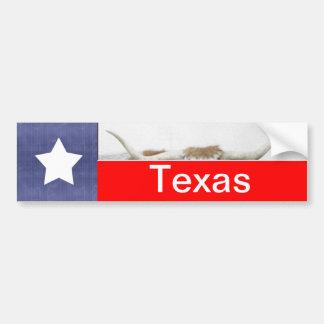 白のテキサス州の旗そして角 バンパーステッカー