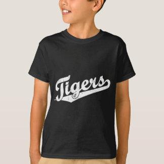 白のトラの原稿のロゴ Tシャツ