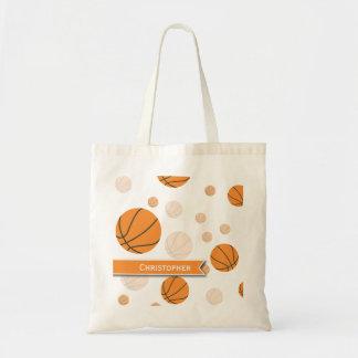 白のバスケットボールパターン トートバッグ