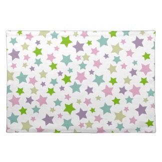 白のパステル調の星パターン ランチョンマット