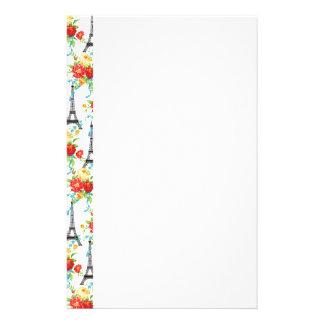 白のパリ花のエッフェル塔 便箋