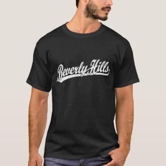 白のビバリー・ヒルズの原稿のロゴ Tシャツ