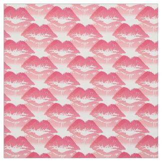 白のピンクのキス ファブリック