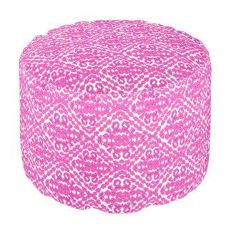 白のピンクのダマスク織 プーフ
