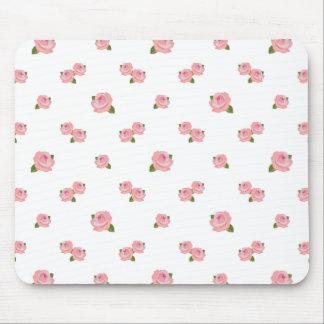 白のピンクのバラパターン マウスパッド
