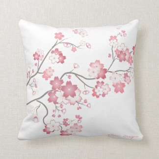 白のピンクの桜の桜の枕 クッション