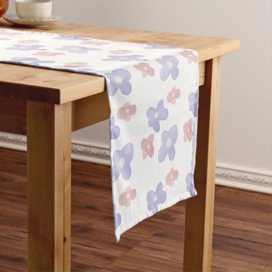 白のピンクの青い花 ショートテーブルランナー