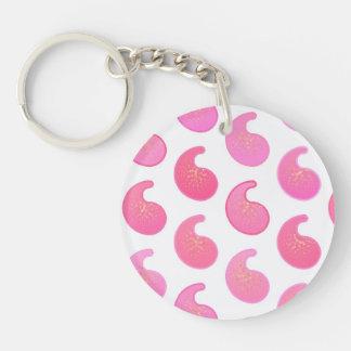 白のペパーミントのピンクのペイズリー キーホルダー