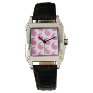 白のペパーミントのピンクのペイズリー 腕時計