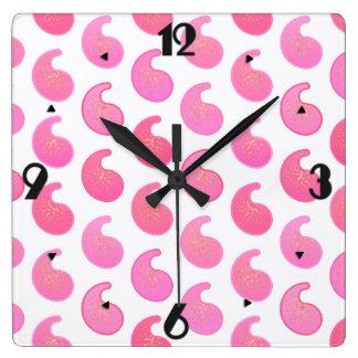 白のペパーミントピンクのペーズリー スクエア壁時計