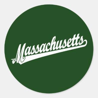 白のマサチューセッツ原稿のロゴ ラウンドシール