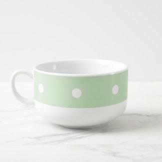 白のミントの緑はスープマグに点を打ちます スープマグ
