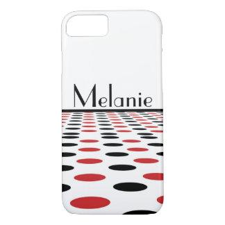 白のモダンで赤くおよび黒い点 iPhone 7ケース