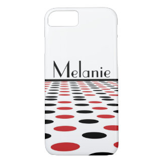 白のモダンで赤くおよび黒い点 iPhone 8/7ケース