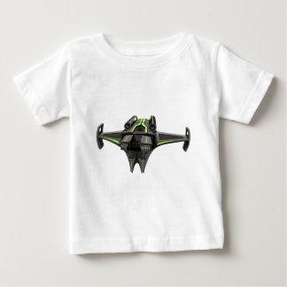 白のモダンなデザインの宇宙船 ベビーTシャツ